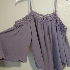 Dark lilac flowy cold shoulder top